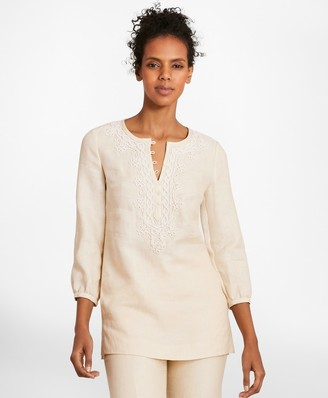 Brooks Brothers Soutache-Embroidered Linen Tunic