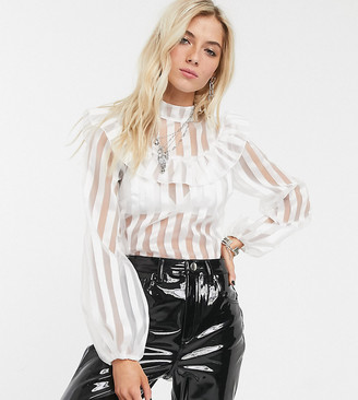 Reclaimed Vintage inspired sheer high neck blouse