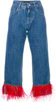 Dolce & Gabbana boyfriend fit jeans - women - Cotton/Acetate/Ostrich Feather - 38