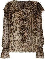 Dolce & Gabbana leopard print ruffled top - women - Silk - 40