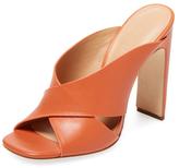 Halston Leahter Crisscross Slip-On Sandal