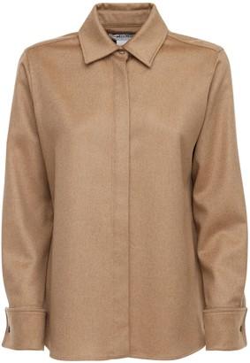Max Mara Camel Drap Flannel Shirt