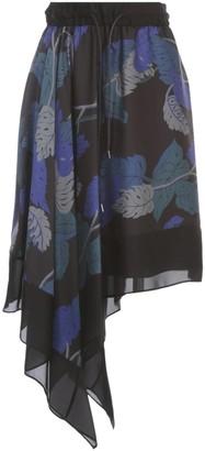 Sacai Sun Surf Monstera Skirt Elastic Waist Asymmetric