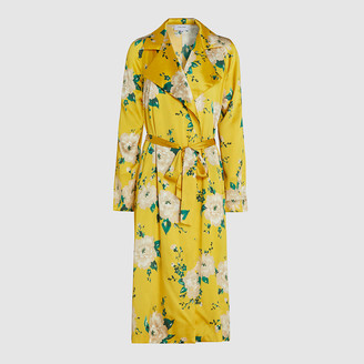 Leone We Are Yellow Tallulah Floral Print Silk-Blend Coat Size S/M
