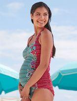 Floral Geo Print Cross Back Maternity Tankini