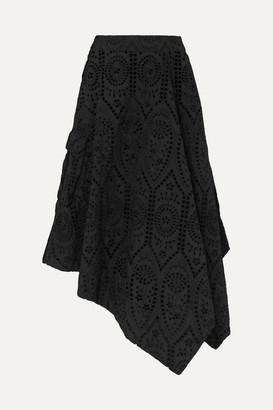 Ganni Asymmetric Broderie Anglaise Cotton Skirt - Black