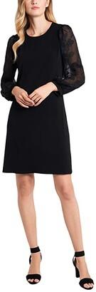 CeCe Floral Embroidered Sleeve Knit Dress (Rich Black) Women's Dress