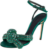Thumbnail for your product : Marco De Vincenzo Green Crystal Embellished Satin Knotted Ankle Strap Sandals Size 38.5