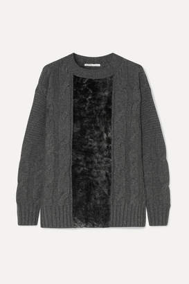 Agnona Paneled Cable-knit Cashmere And Shearling Sweater - Dark gray