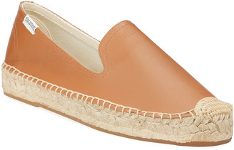 Soludos Leather Slip-On Espadrille Smoking Slipper Flats
