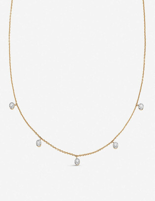 Monica Vinader Fiji Tiny Button 18ct gold-plated vermeil and diamond necklace