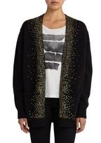 Saint Laurent Glitter-Embellished Open-Front Cotton Cardigan