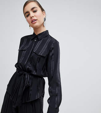 Monki satin stripe two-piece blouse in black