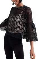 J.Crew Petite Women's Bell Sleeve Daisy Lace Top