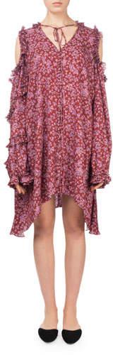 Magda Butrym Zagreb Floral-Print Open-Shoulder Silk Dress w/ Ruffled Trim