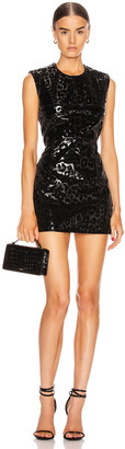 Thierry Mugler Leopard Vinyl Mini Dress in Black | FWRD