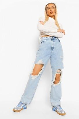 boohoo Acid Wash Heavily Distressed Straight Leg Jean