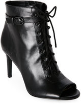 Jones New York Black Grace Peep Toe Lace-Up Booties