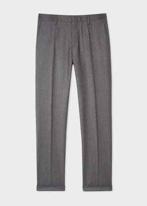 Men's Slim-Fit Grey Wool-Cashmere Trousers