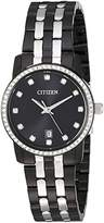 Citizen Women's ' Quartz Stainless Steel Casual Watch, Color:Black (Model: EU6037-57E)
