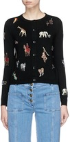 Alice + Olivia 'Ruthy' animal embroidered patch cardigan
