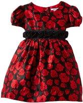 Hartstrings Girls 2-6X Toddler Rose Pattern Charmeuese Dress