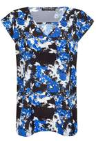 Select Fashion Fashion Womens Blue Graphic Floral Oversized V Top - size 10