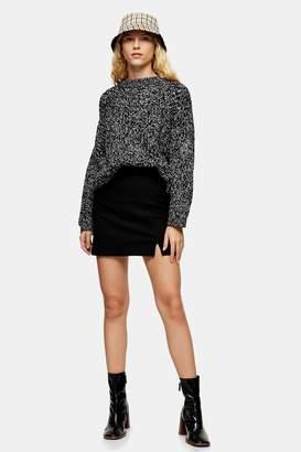 Topshop TALL Black Plain Notch Mini Skirt