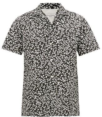 Officine Generale Dario Leaf-print Cotton-seersucker Shirt - Mens - Black White