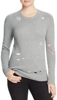 Aqua Cashmere Distressed Crewneck Cashmere Sweater