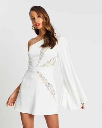 Missguided One Shoulder Lace Split Sleeve Mini Dress
