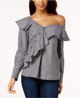 Kensie Cotton Ruffled One-Shoulder Top