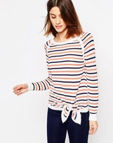 Shae Tie Front Striped Sweater