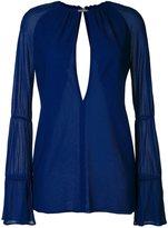 Jay Ahr silver-tone neck slit blouse