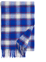 Johnstons of Elgin Blue Bold Check Lambswool Scarf
