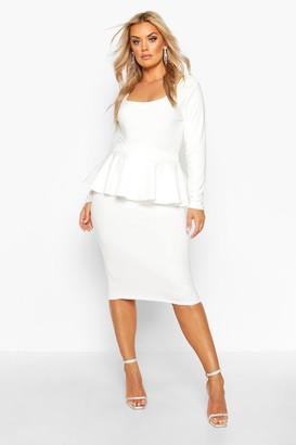 boohoo Plus Scuba Peplum Midi Skirt