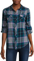 Arizona Long Sleeve Classic Plaid Shirt-Juniors