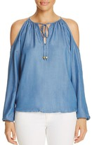 MICHAEL Michael Kors Chambray Cold Shoulder Peasant Blouse