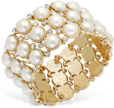Charter Club Gold-Tone Glass Pearl and Pave Crystal Three-Row Stretch Bracelet
