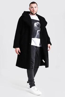 boohoo Mens Black Plus Size Borg Hooded Longline Jacket, Black