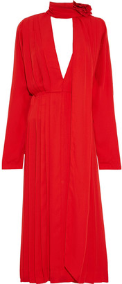 Victoria Beckham Floral Appliqued Tie-neck Pleated Crepe De Chine Midi Dress