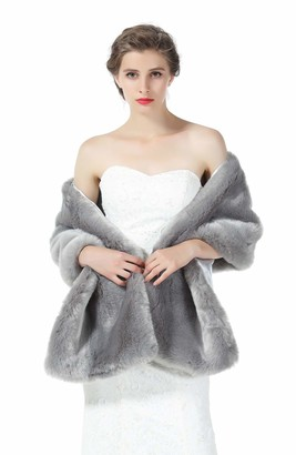 BEAUTELICATE Faux Fur Shawl Stole Wrap Womens Bridal Wedding Long Shrug Cape for Bridesmaid Evening Winter Gray