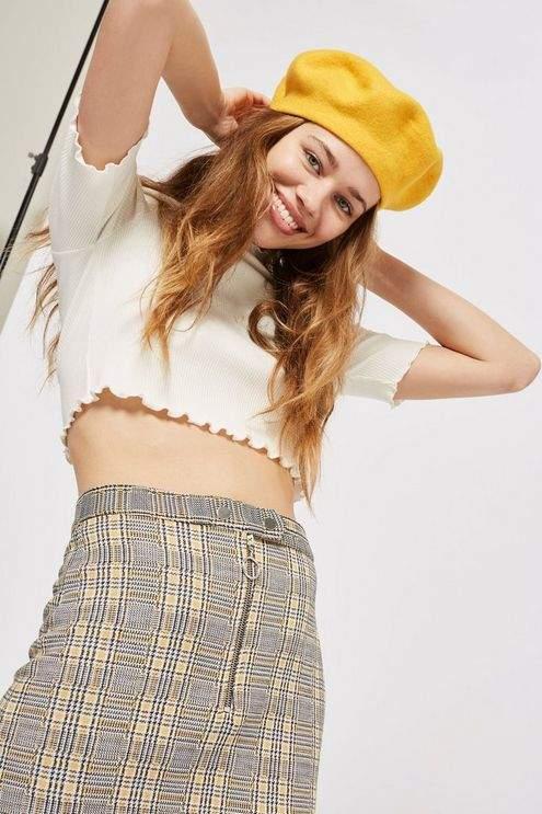 Topshop Petite Zip Popper Checked Mini Skirt