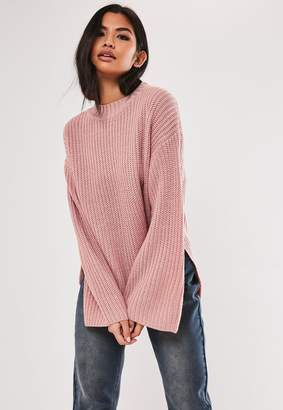 Missguided Rose Side Split Long Knitted Jumper