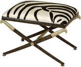 Maitland-Smith Iron & Hide Ottoman, Black/White Zebra