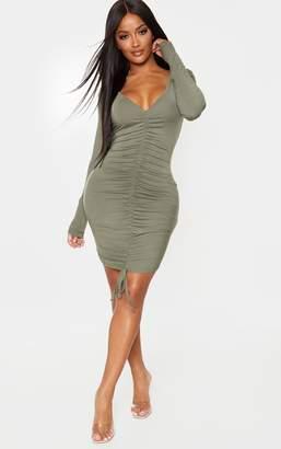 PrettyLittleThing Shape Khaki Jersey Long Sleeve Ruched Front Dress