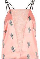 River Island Womens Pink satin cactus lace insert cami pajama top