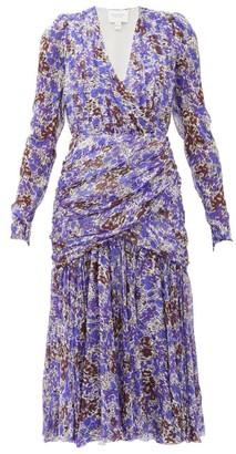Giambattista Valli Draped Floral-print Silk-chiffon Midi Dress - Blue Multi