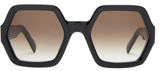 Celine Oversized Hexagon Acetate Sunglasses - Womens - Black