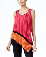 NY Collection Asymmetrical Mixed-Media Pleated Top
